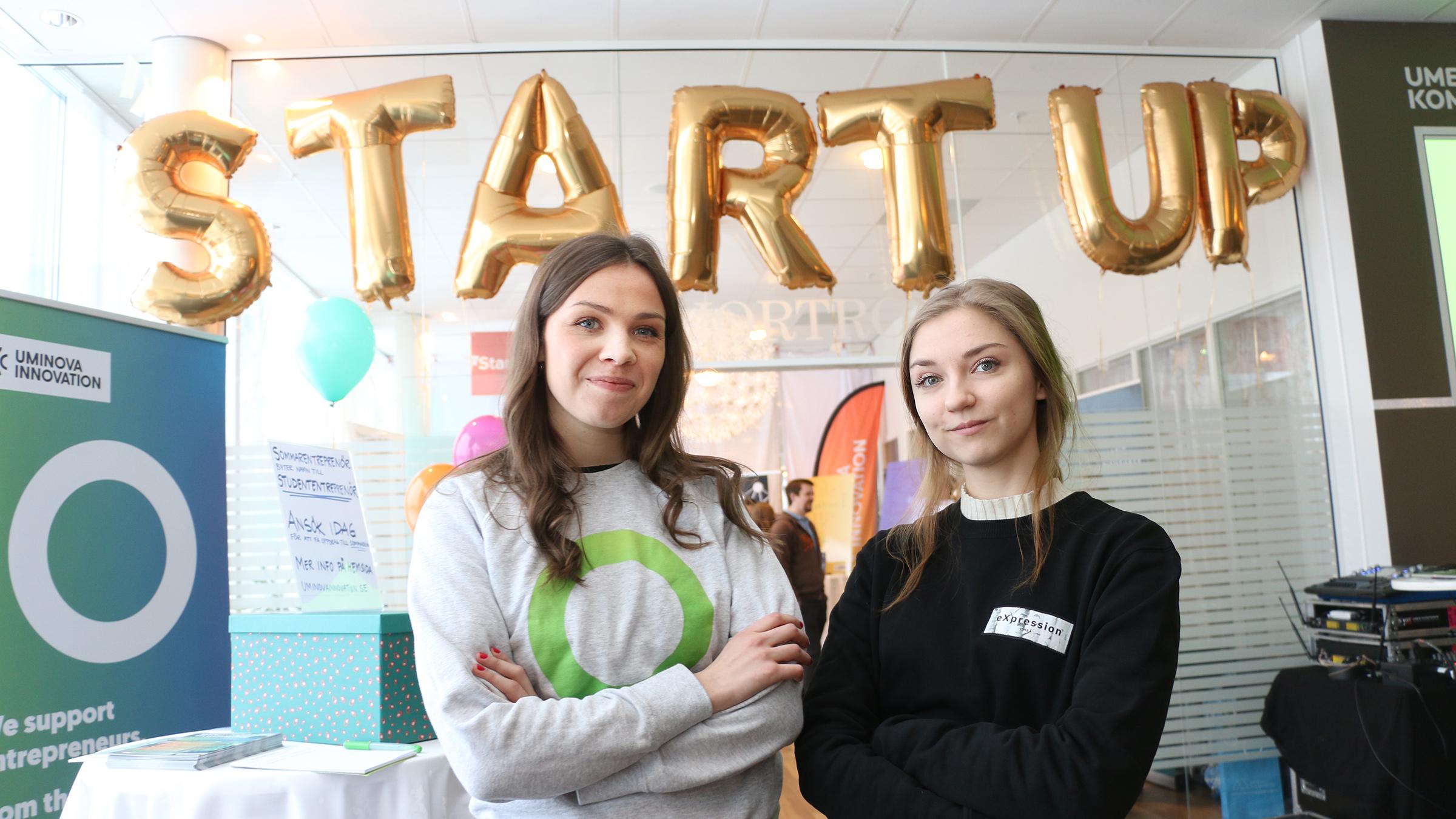Elin Pudas och Matilda Pettersson på Startup Valley vid Uniaden.