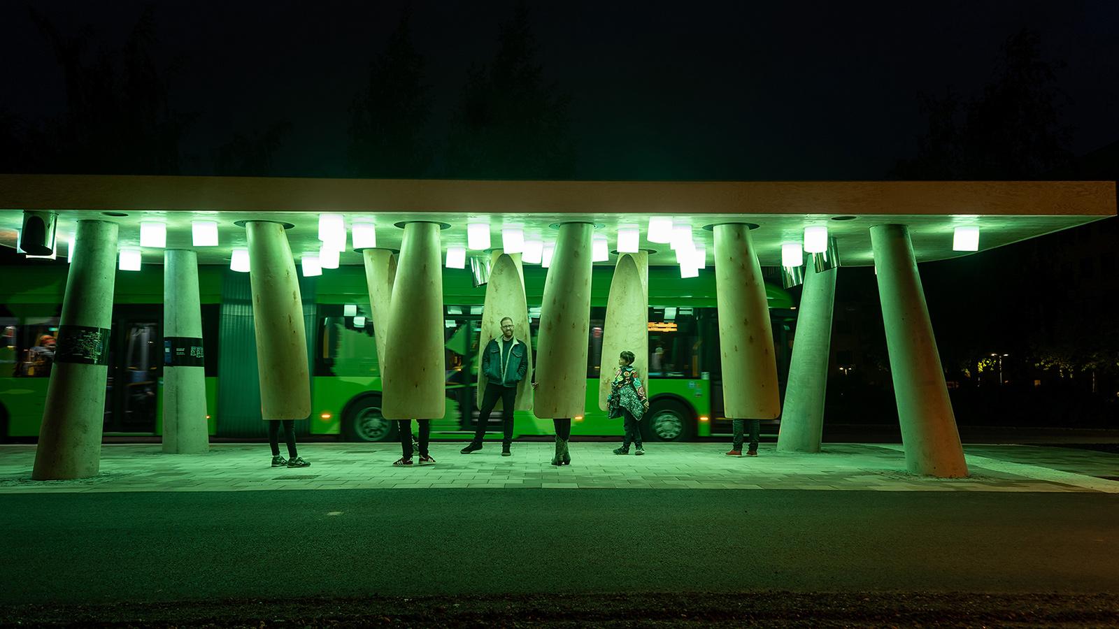 Smart busshållplats i Umeå.