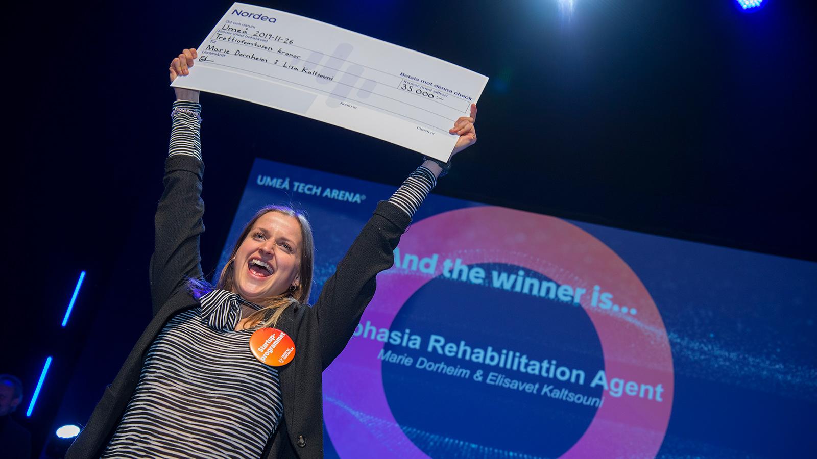Ett exempel på vinnare från Umeå är entreprenörerna bakom Aphasia Rehabilitation Agent, en rehabiliteringsmetod för att stötta strokedrabbade som drabbats av talproblem, så kallad afasi. Vinnarna Marie Dorheim och Elisavet Kaltsouni fick ta emot Nordeas stora stipendium för startupidéer, som delades ut vid Umeå Tech Arena hösten 2019. Uminova Innovation arrangerar Umeå Tech Arena.