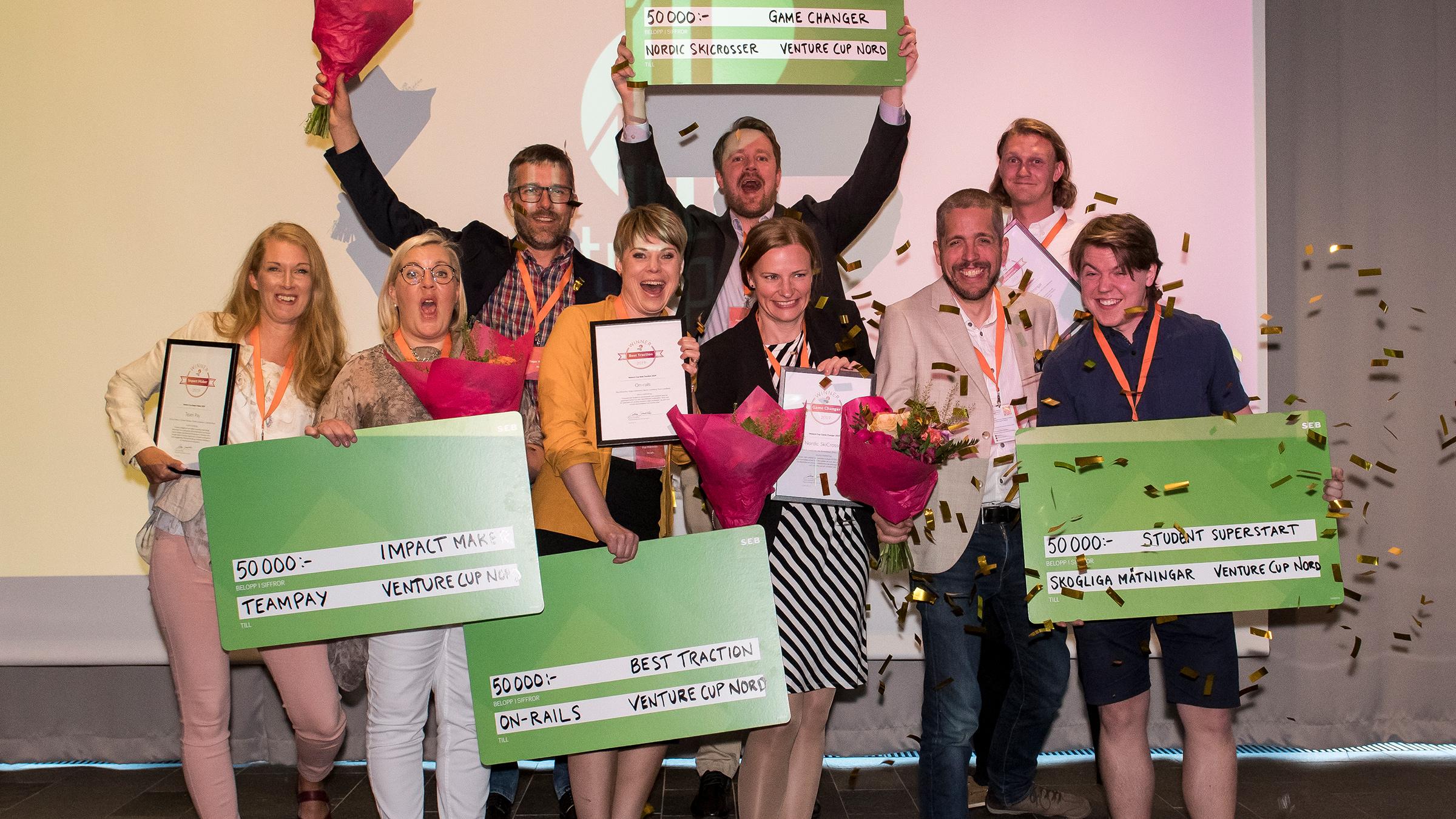 Nu ska årets vinnare i Venture Cup Nord koras. På bilden syns samtliga regionala vinnare från 2019. Foto: Jenny Rehnman