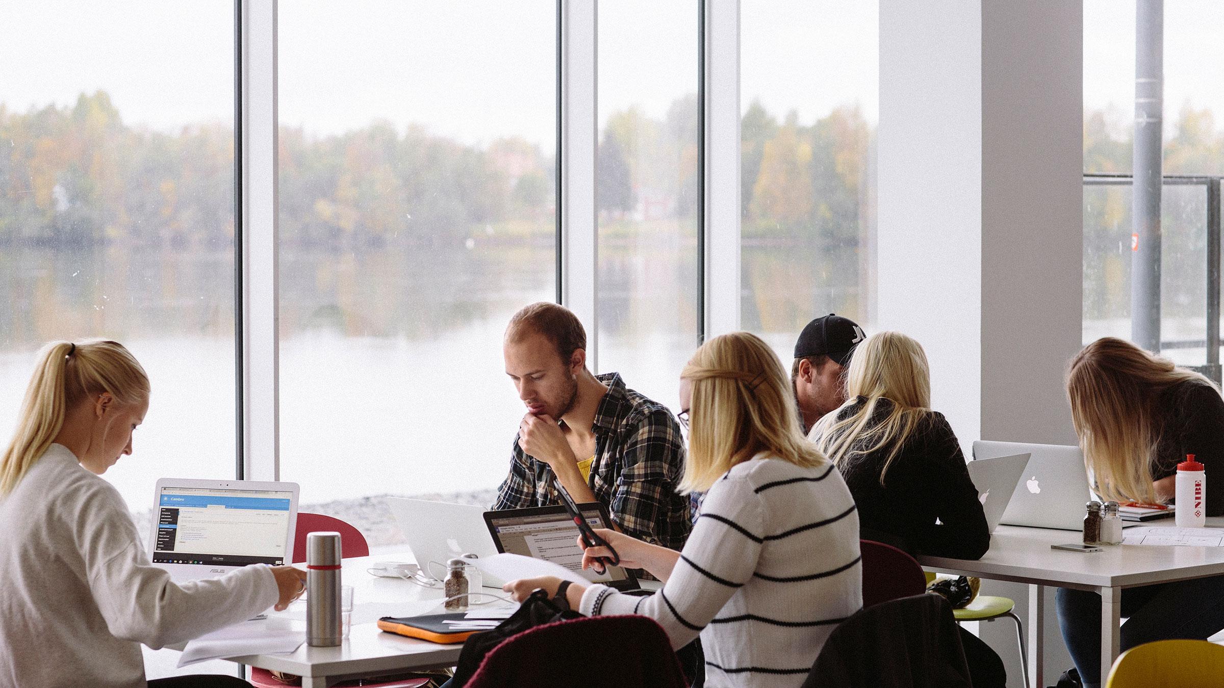 Umeå universitet sätter stor prägel på Umeå. På bilden syns studenter i grupparbete. Foto: elin Berge.