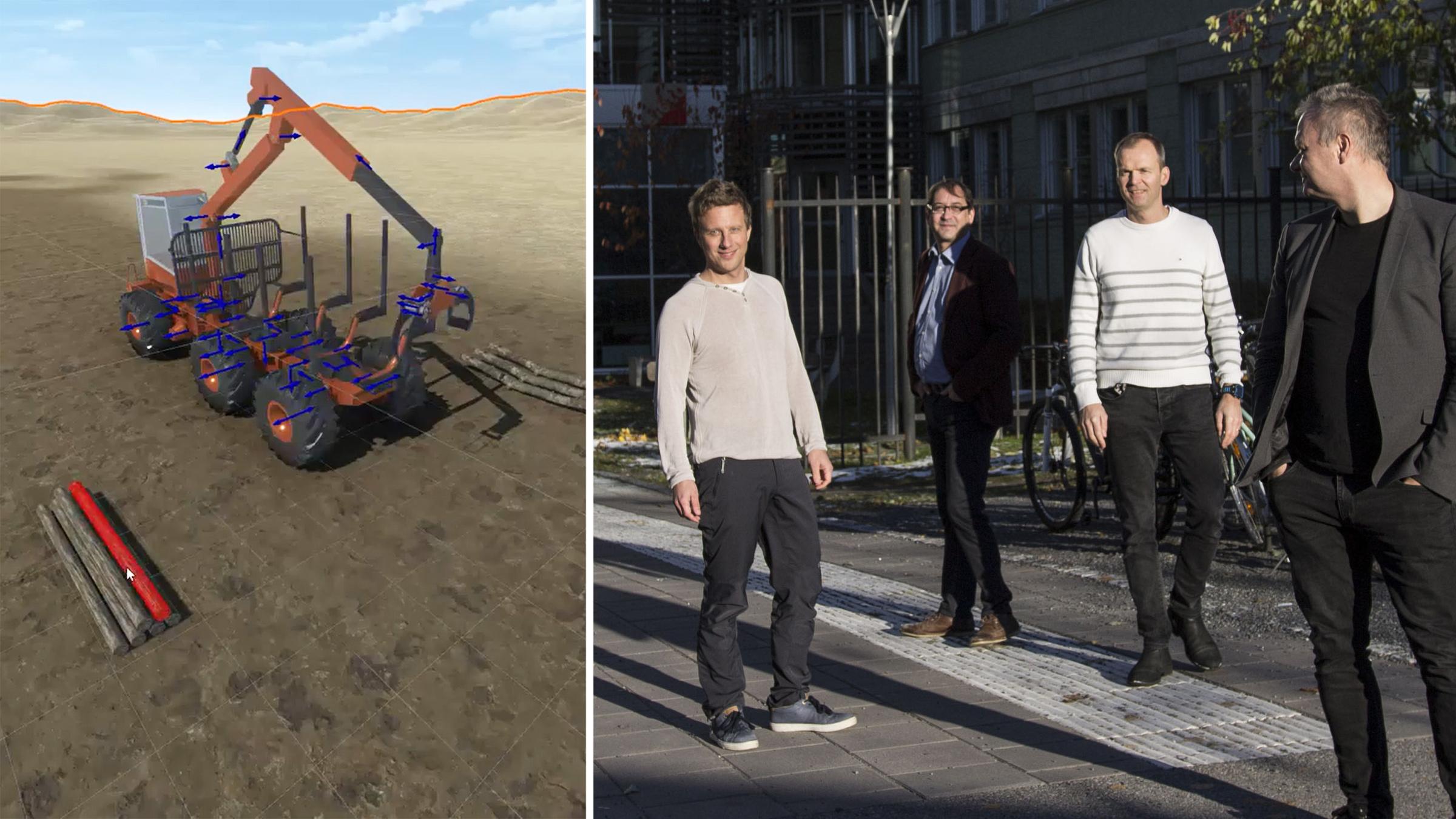 Till vänster en skärmdump ur Algoryx demonstrationsvideo av AGXUnity. Till höger grundarna av företaget, Martin Servin, Claude Lacoursière, Anders Backman och Kenneth Bodin.