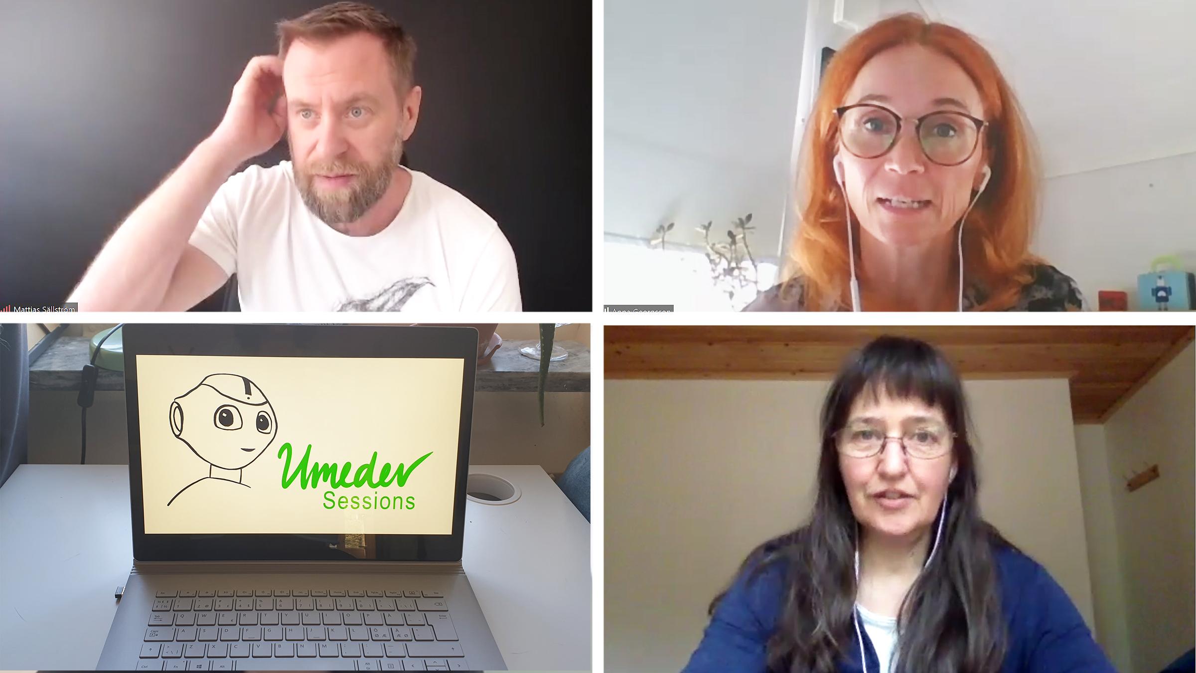 Umedev fick våren 2020 ställas om till en digital konferens. På bilden några av de medverkande: Mattias Sällström, Anna Georgsson och Christina Skaskiw.