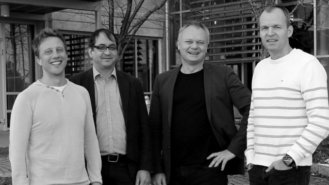Founders of Algoryx Simulations, Martin Servin, Claude Lacoursière, Kenneth Bodin and Anders Backman. Image: Johanna Liljedahl.