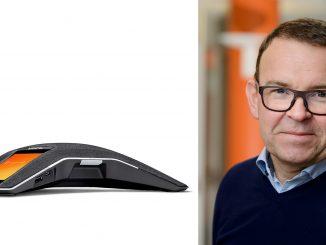 """Umeåföretaget Konftel får internationellt pris för sin konferenstelefon Konftel 800. Peter Renkel, vd: """"Det är en riktigt fin kvalitetsstämpel."""""""