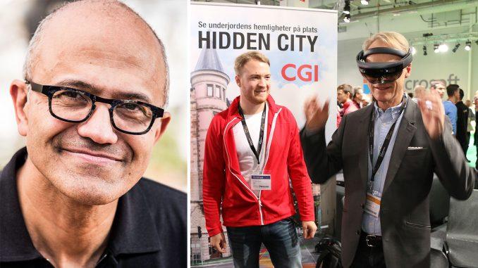 Microsofts vd Satya Nadella rankar CGI:s tillämpning av Hololens för flytten av Kiruna som en av de tio bästa tekniktillämpningarna i världen 2019. Foto: Microsoft/Mikael Hansson.
