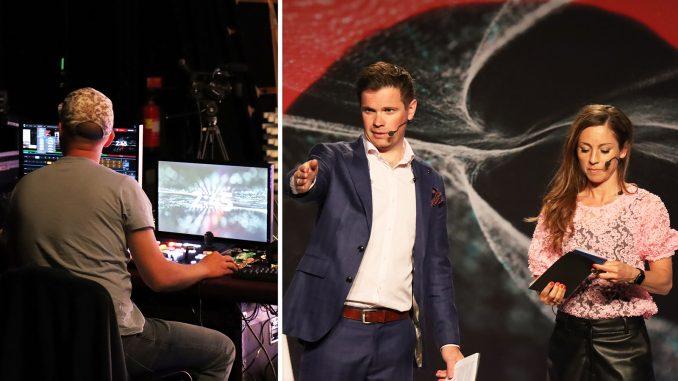 Umeå Tech Arena gjordes om till digital konferens som sändes direkt till deltagarna. Till höger Linus Stark och Maria Olofsson, moderatorer från Uminova Innovation.