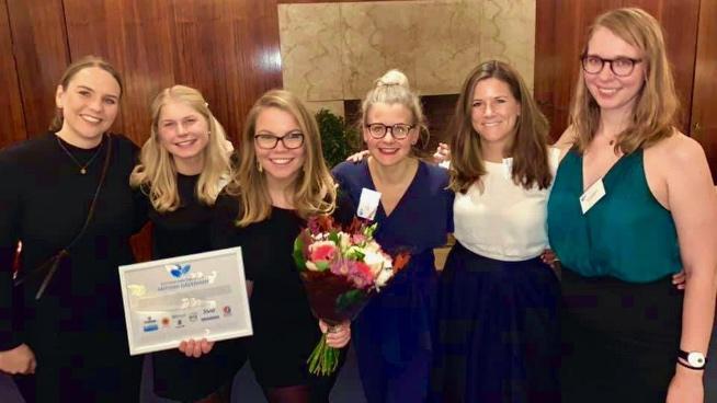 Tidigare vinnare av Female Leader Engineer. Från vänster: Cecilia Molinder (2017), Anna Berggren (2018), Antonia Dåderman (2019), Sofie Jonsson (2015), Katarina Atteryd Eckerwall (2016), Cecilia Svennberg (2017).