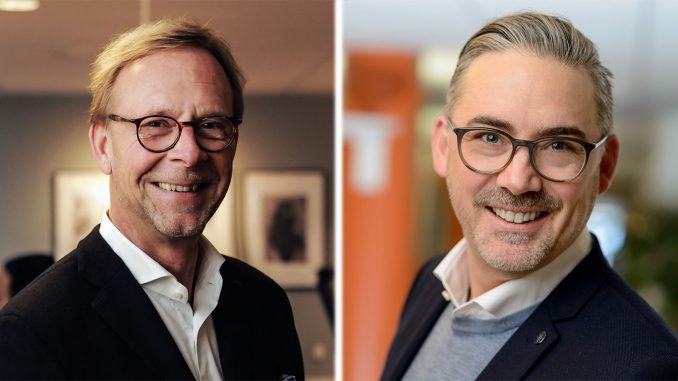 Magnus Ohlin, VD IsiCom, och Jörgen Rönnqvist, Area Sales Manager Nordics and Baltics på Konftel, gläder sig över nytt samarbete kring videokonferenser.