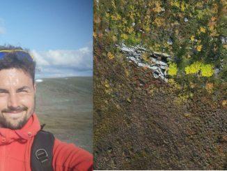Drönare är ett bra verktyg för forskning i Arktis, visar fältstudier från Umeå universitet. Montagebilden visar forskare Matthias Siewert och en drönarbild. Foto: Matthias Siewert.