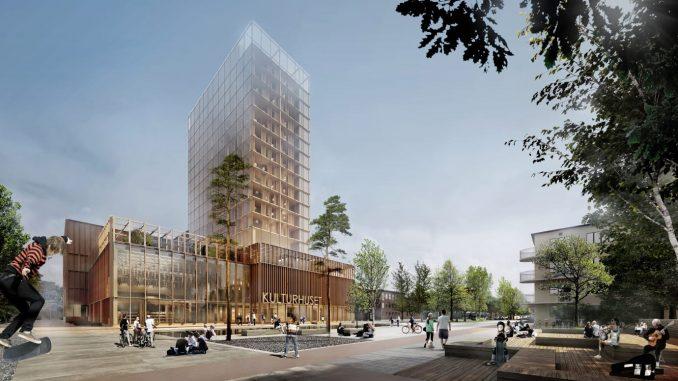 Skellefteå växer med ökad befolkning, fler arbetsplatser och expansivt bostadsbyggande. Illustrationen visar det kommande kulturhuset. Bild: Skellefteå Kommun / White Arkitekter
