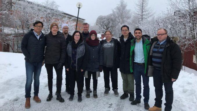 Från ett möte med NoICE projektgrupp. Från vänster i bild: Jun Yu (UmU), Andreas Willfors (Novia), Mats Johansson (UmU), Heli Koivuluoto (TAU), Patrik Eklund (UmU), Katrin Asplund (Novia), Jyri Nieminen (UVA), Jianfeng Wang (UmU), Roberto Mantas Nakhai (LTU) och Jari Oja (TAU) BildNoICE projektet