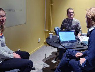 Maria Klintenäs, SLU Holding, Emil Söderlind och Mattias Hagberg som vann tävlingen Innovation Boot Camp 2020 i Umeå