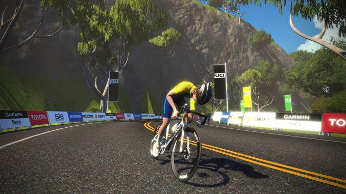 Bild på cyklist på landsväg i virtuell miljö
