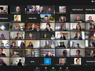 Bildskärm med online-möte.