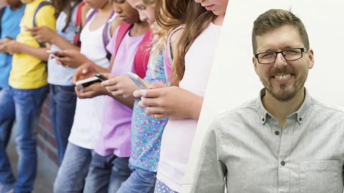 Bilden är ett montage och visar ett porträtt av Per Fransson, medgrundare till företaget The Arc, samt ungdomar som tittar i sina telefoner.