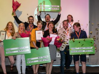 Gruppbild från år 2020 på samtliga regionala vinnare i Venture Cup Nord. Foto: Jenny Rehnman.