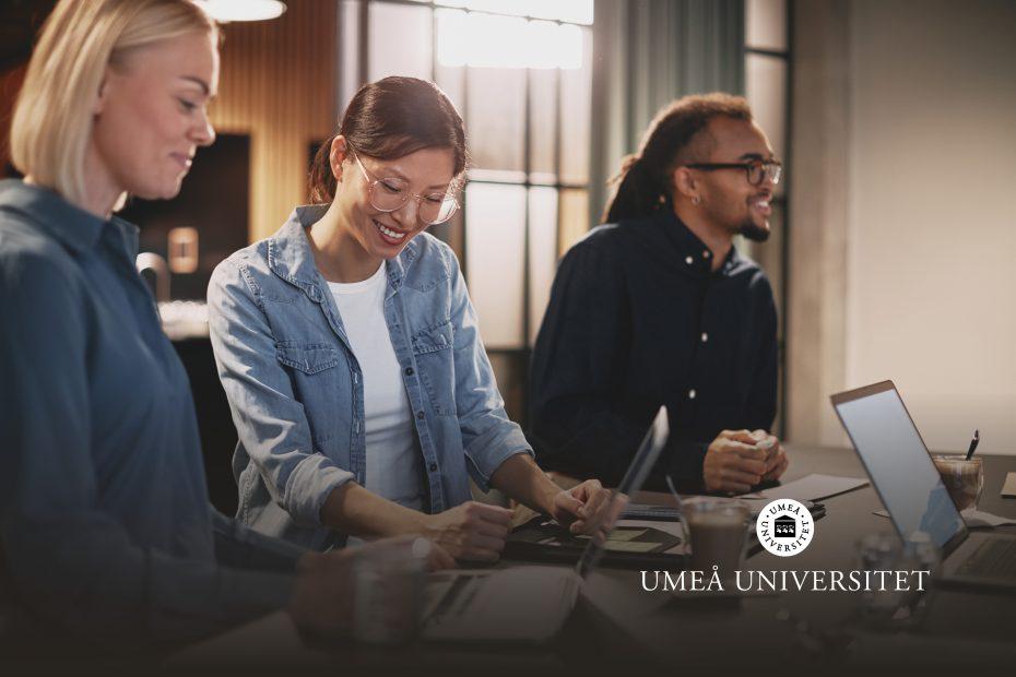 Bilden visar tre personer som arbetar framför sina datorer.