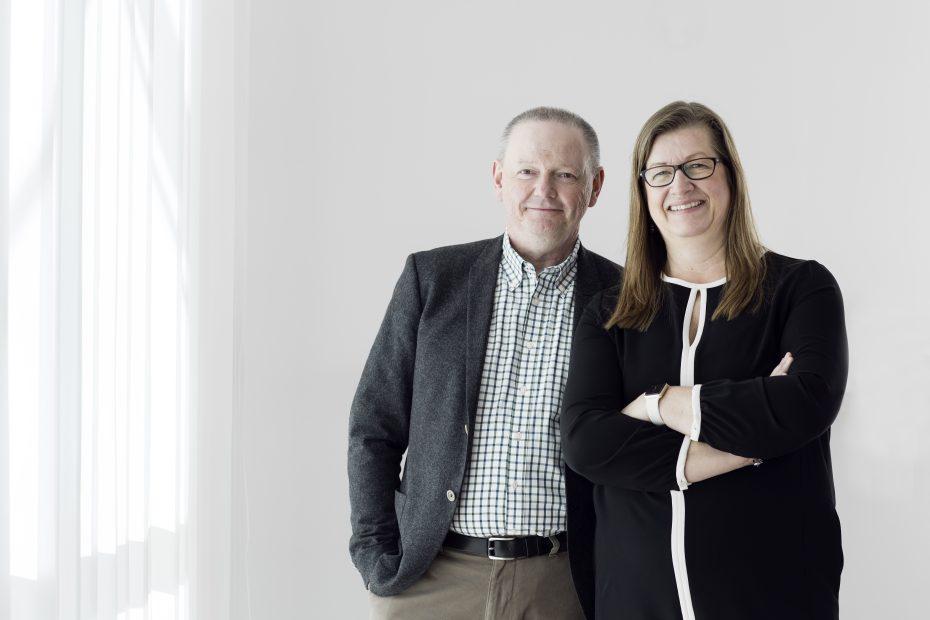 Porträttbild av Hans Adolfsson, rektor Umeå universitet och Katrine Riklund prorektor.